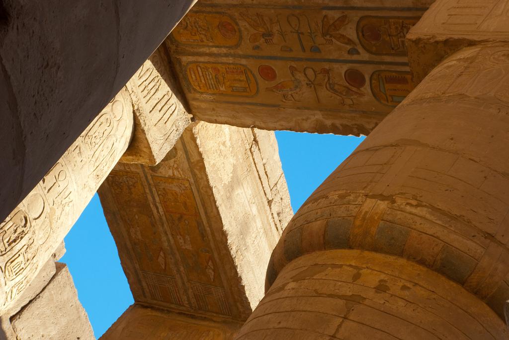 Painted heiroglyphics in Karnak Temple