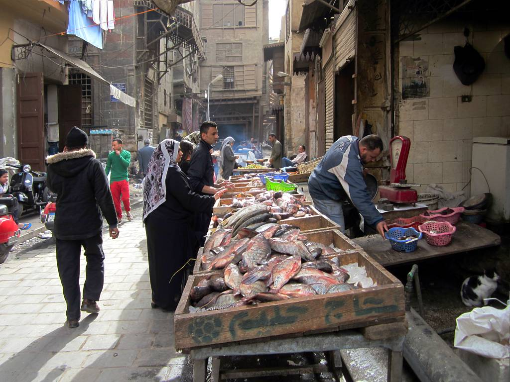 Fish mongers in the old Islamic quarter of Cairo, Egypt.
