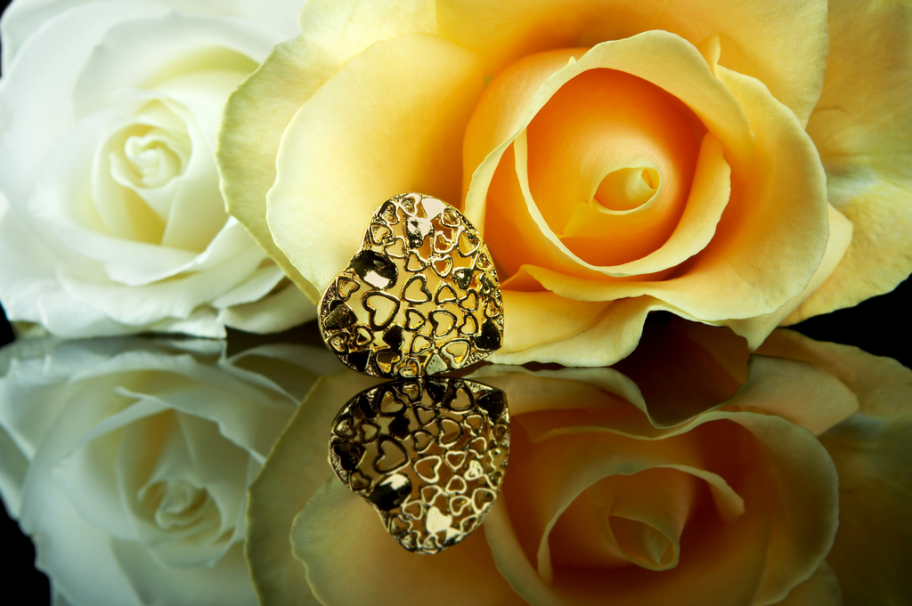 White and yellow rose, and a golden heart, the colors of love, reflected on a shiny black surface