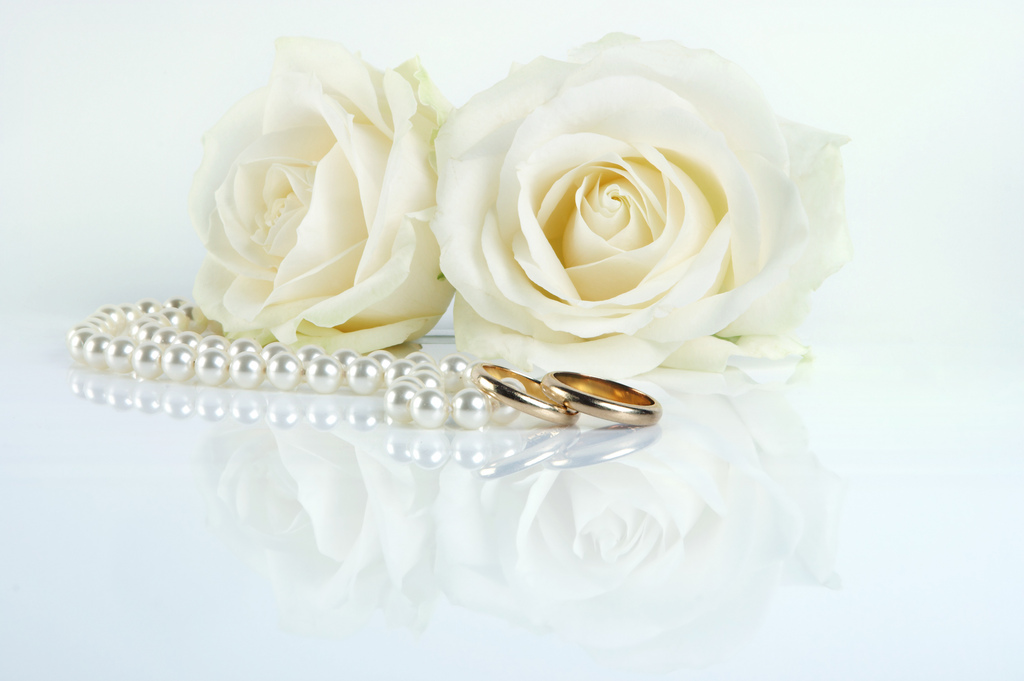 Two golden wedding rings and two white roses on a reflecting white surface