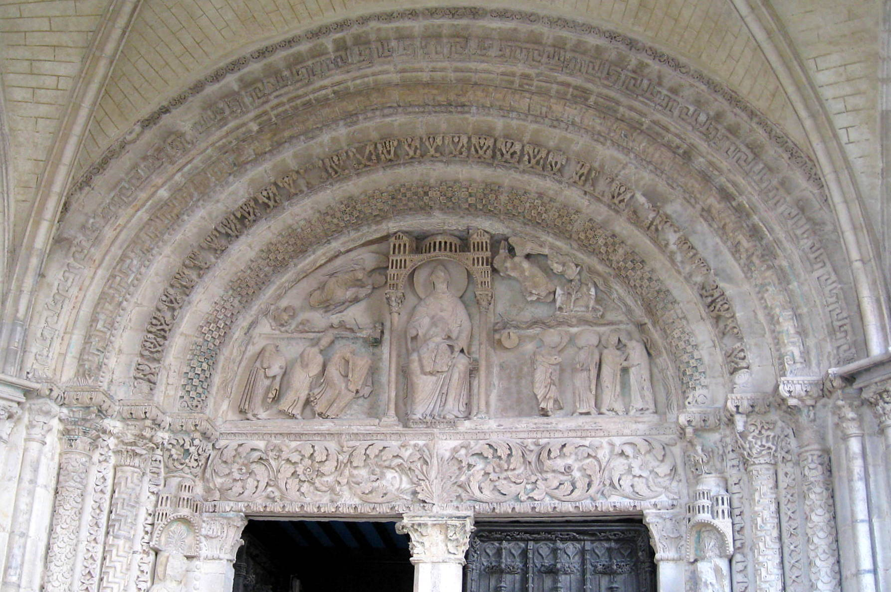 The north portal tympanum (c.1160), Bourges Cathedral, Bourges, Cher, France
